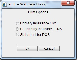 Print CMS1500 from Claim Page