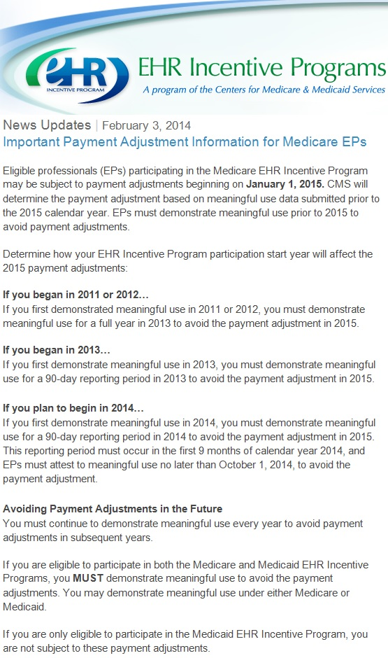 Payment Adjustments Begin 2015 for Non-MU Compliance